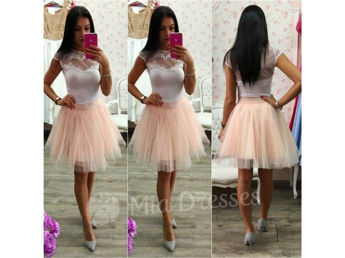 Púdrová krátka tylová tutu sukňa