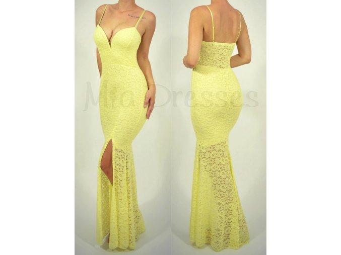 Žlté čipkované šaty s hlbokým výstrihom