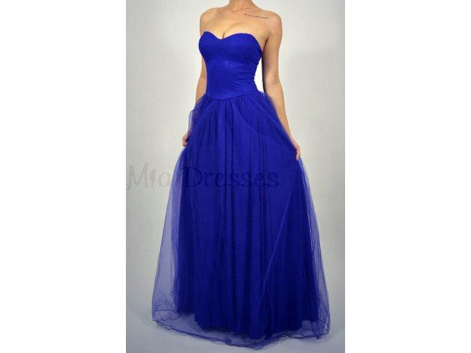 Modré spoločenské šaty s čipkovaným vrchom