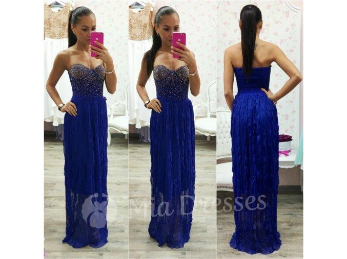 Modré spoločenské šaty so zlatým zdobením