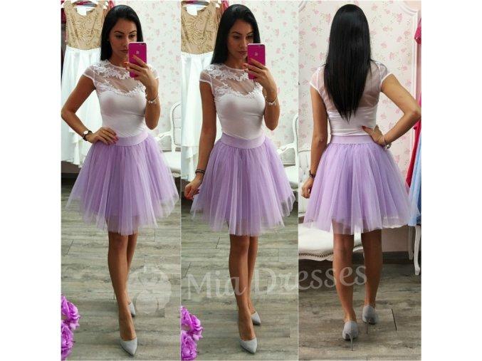 Fialová krátka tylová tutu sukňa