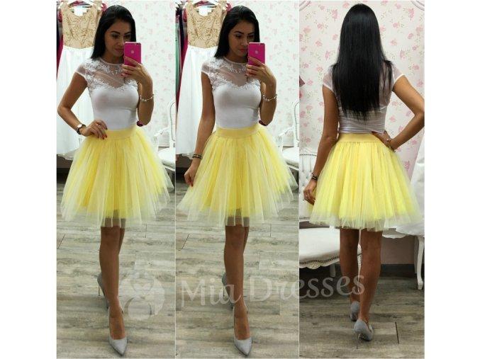 Žltá krátka tylová tutu sukňa