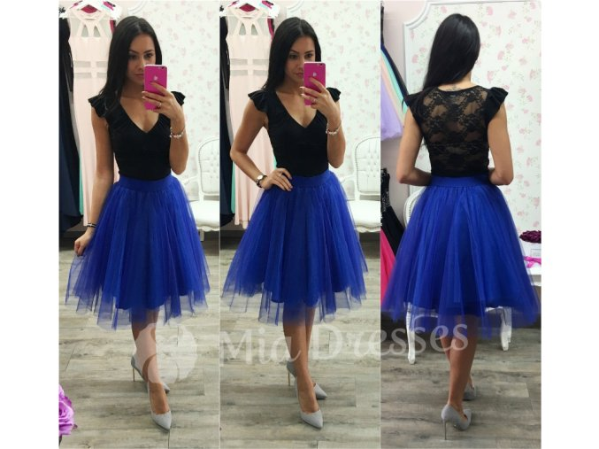 Modrá midi tylová tutu sukňa
