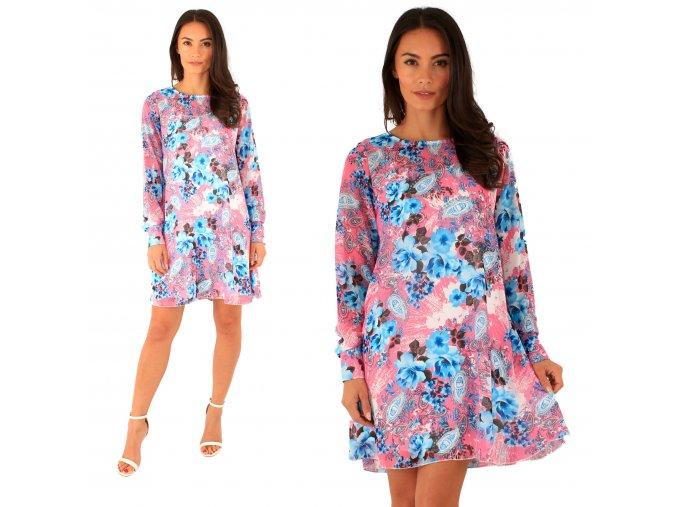 Kvetinové šifónové šaty