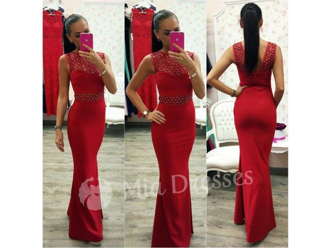 Červené dlhé šaty s flitrami