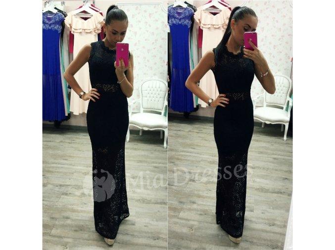 Čierne čipkované spoločenské šaty