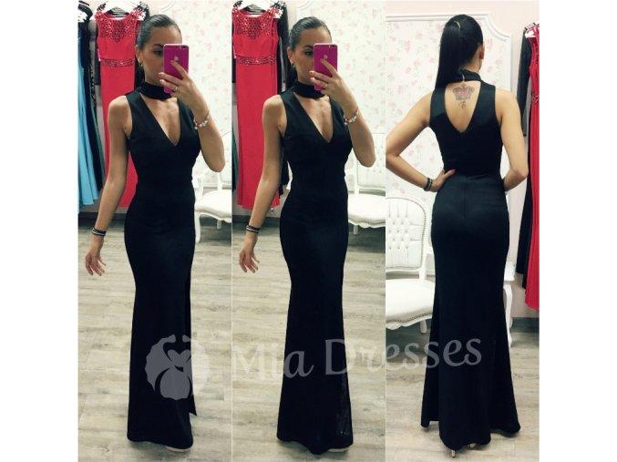 Čierne dlhé šaty s chokerom