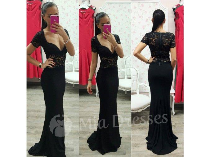 Čierne dlhé spoločenské šaty s čipkou