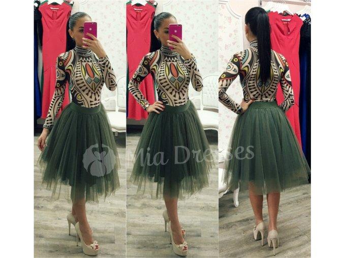 Khaki midi tylová tutu sukňa