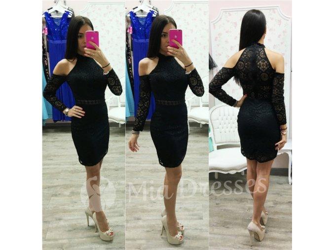 Čierne čipkované šaty s odhalenými ramenami
