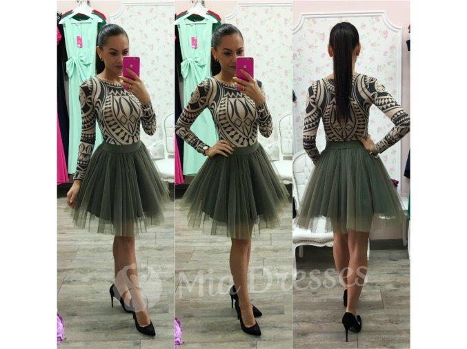 Khaki krátka tylová tutu sukňa