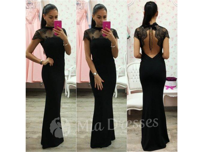 Čierne šaty s odhaleným chrbtom