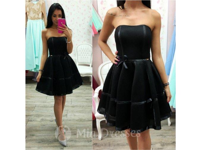 Čierne šaty s mašličkami