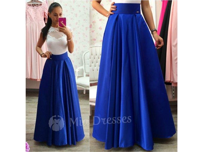 Modrá dlhá saténová sukňa