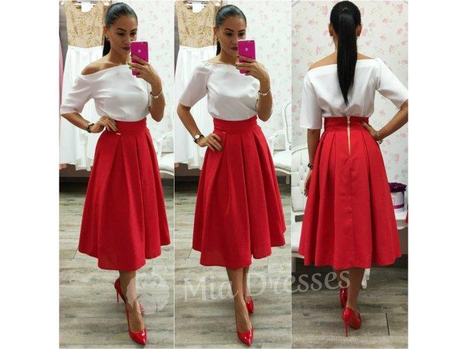 Červená áčková midi sukňa