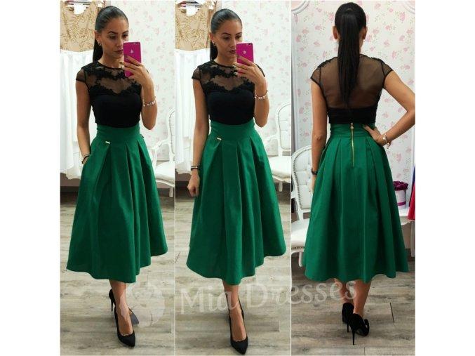 Zelená áčková midi sukňa