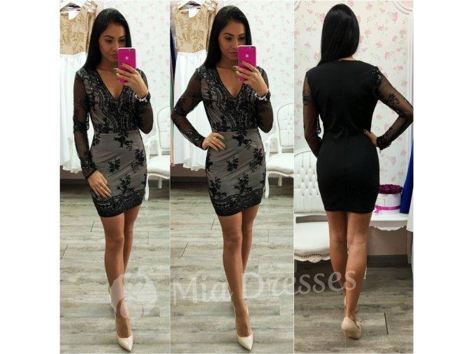 Čierne mini šaty s flitrami