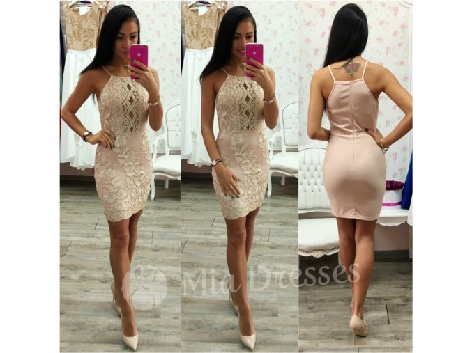 Telové šaty so zlatými výšivkami