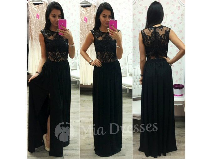 Čierne spoločenské šaty s rozparkom