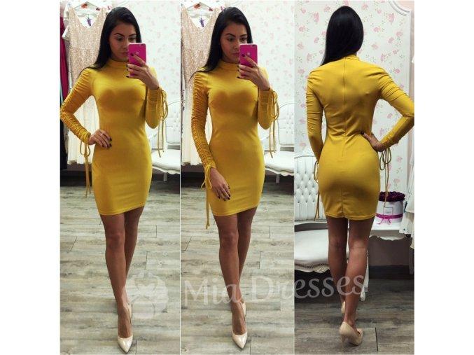 Horčicové mini šaty