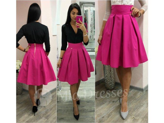 Cyklaménová áčková krátka sukňa