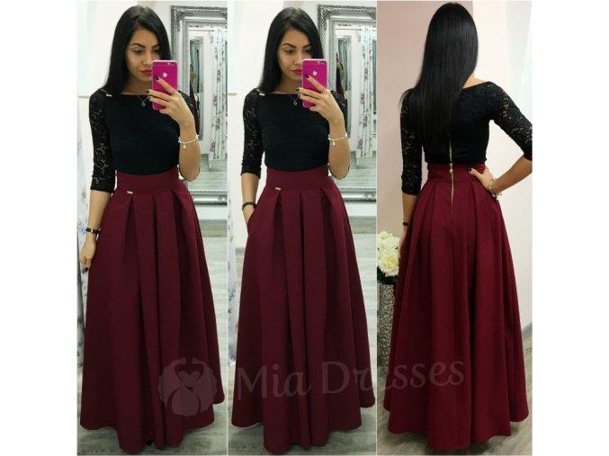 Bordová dlhá skladaná sukňa