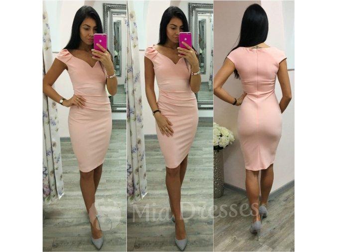 Púdrové krátke priliehavé šaty