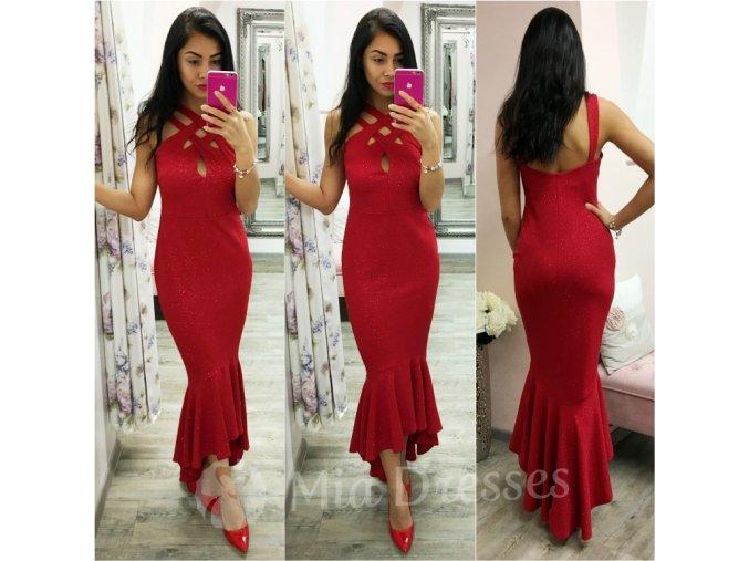 Červené spoločenské trblietavé šaty