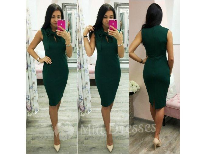 Smaragdové midi šaty s viazaním okolo krku