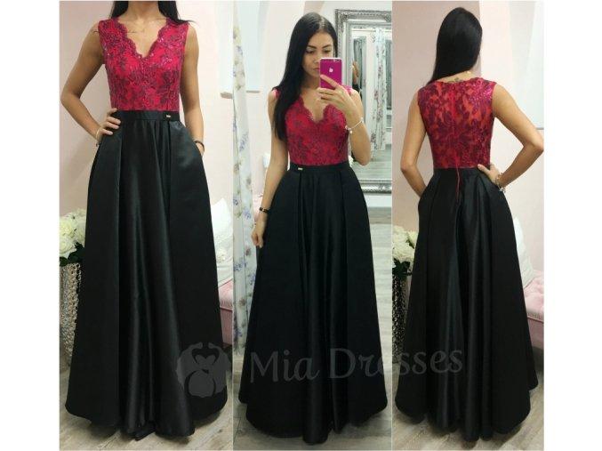 Malinovo-čierne spoločenské šaty so saténovou sukňou