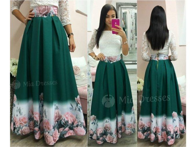 Zelená dlhá kvetinová sukňa