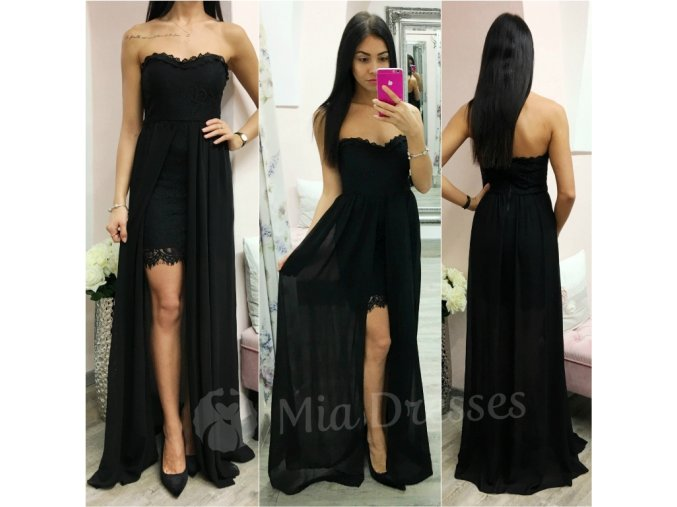 Čierne čipkované šaty so šifónovou sukňou
