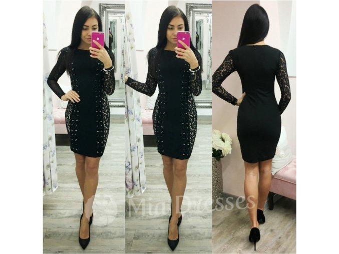 Čierne mini šaty s čipkou