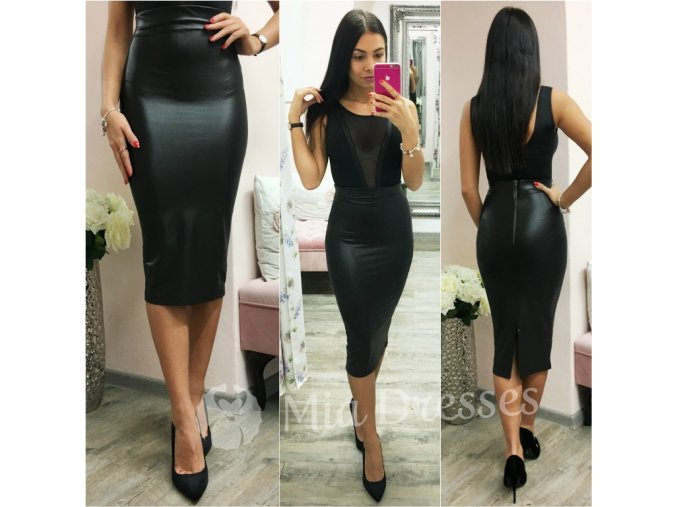 Čierna puzdrová lesklá sukňa