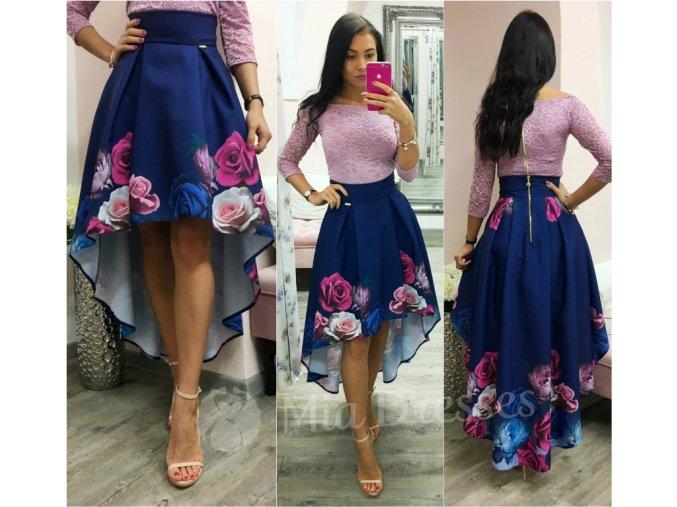 Kvetinová asymetrická sukňa BLUE