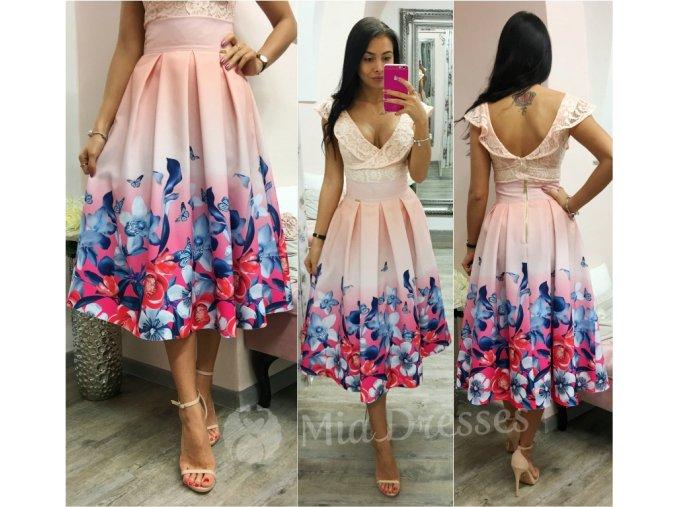 Marhuľová kvetinová midi sukňa