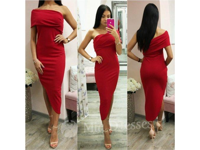 Červené asymetrické midi šaty