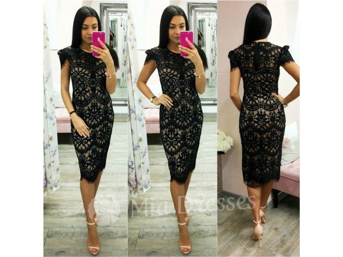 Čierne midi šaty s krajkou