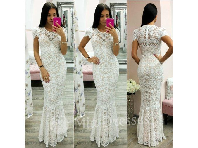 Biele spoločenské šaty s krajkou