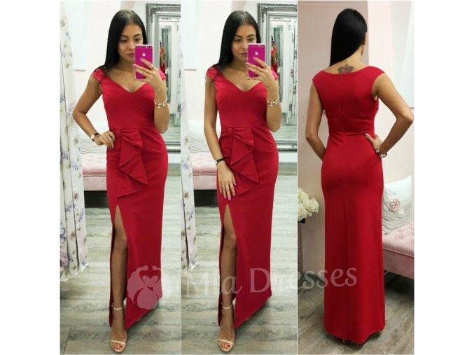Červené šaty s mašľou a rozparkom