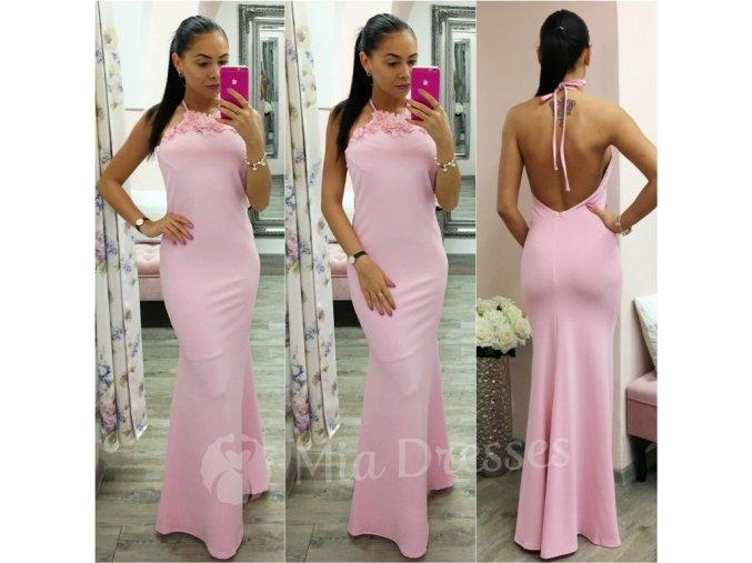 Ružové spoločenské šaty s odhaleným chrbtom
