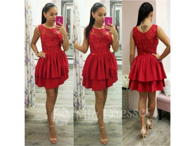 Červené krátke spoločenské šaty