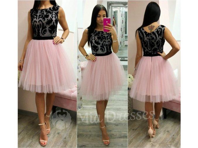 Čierno-ružové šaty s tylovou sukňou