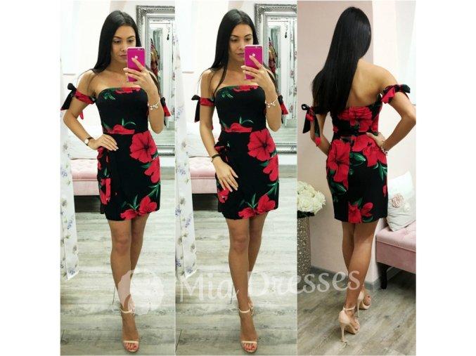 Čierne mini šaty s kvetmi