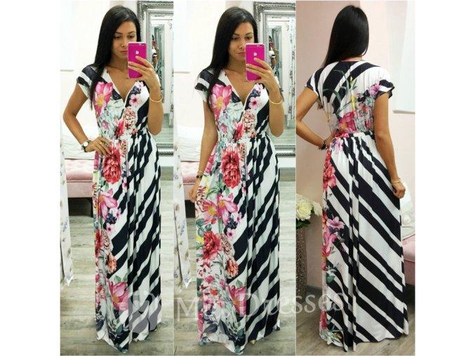 Čierno-biele dlhé šaty s kvetinami