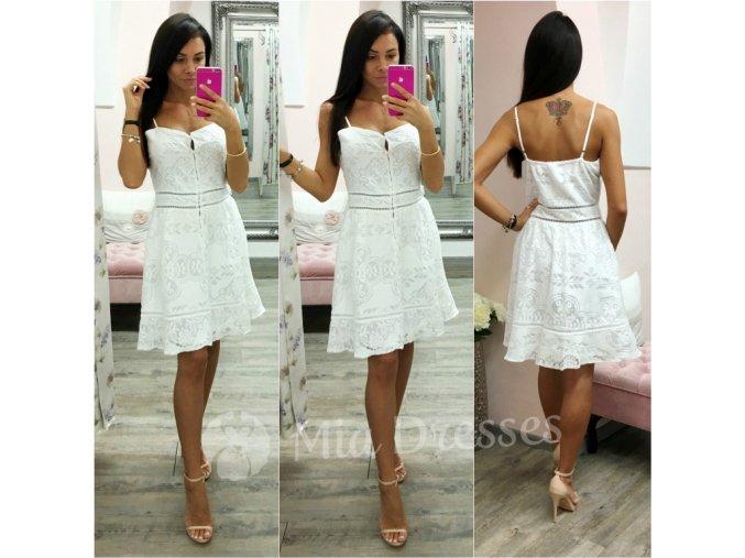 Biele krajkové šaty s gombíkmi