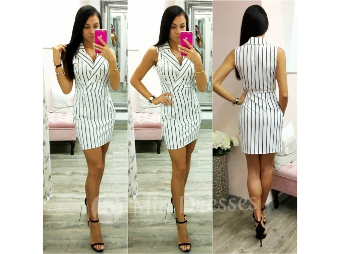 Bielo-čierne pásikavé mini šaty s gombíkmi