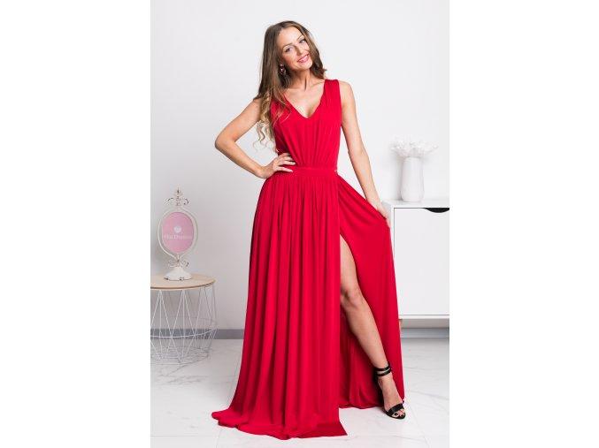 Červené spoločenské šaty s rozparkom