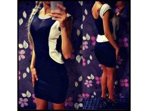 Čierne šaty s bielym lemom