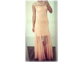 Púdrové šaty so sieťkou zdobenou kvietkami